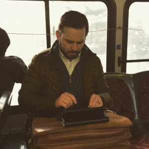 Jeff Zenter Writing on Bus